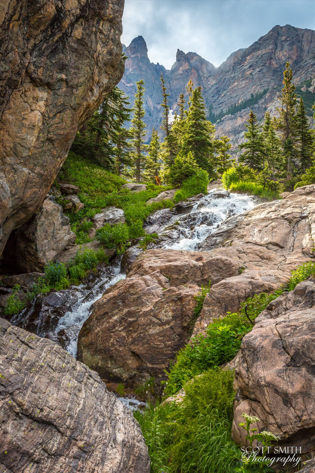 Bear Lake Trail Waterfall - A waterfall, part way up to Lake Emerald, on Bear Lake Trail, Rocky Mountain National Park by D Scott Smith