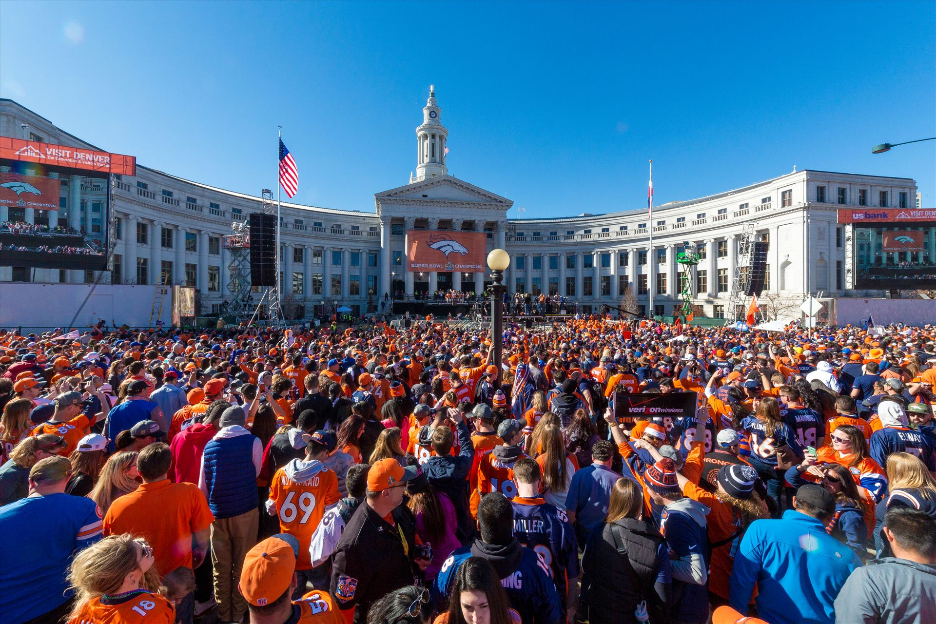 Broncos Fans at the Superbowl Victory Celebration - The best fans in the world descend on Civic Center Park in Denver Colorado for the Broncos Superbowl victory celebration. by D Scott Smith