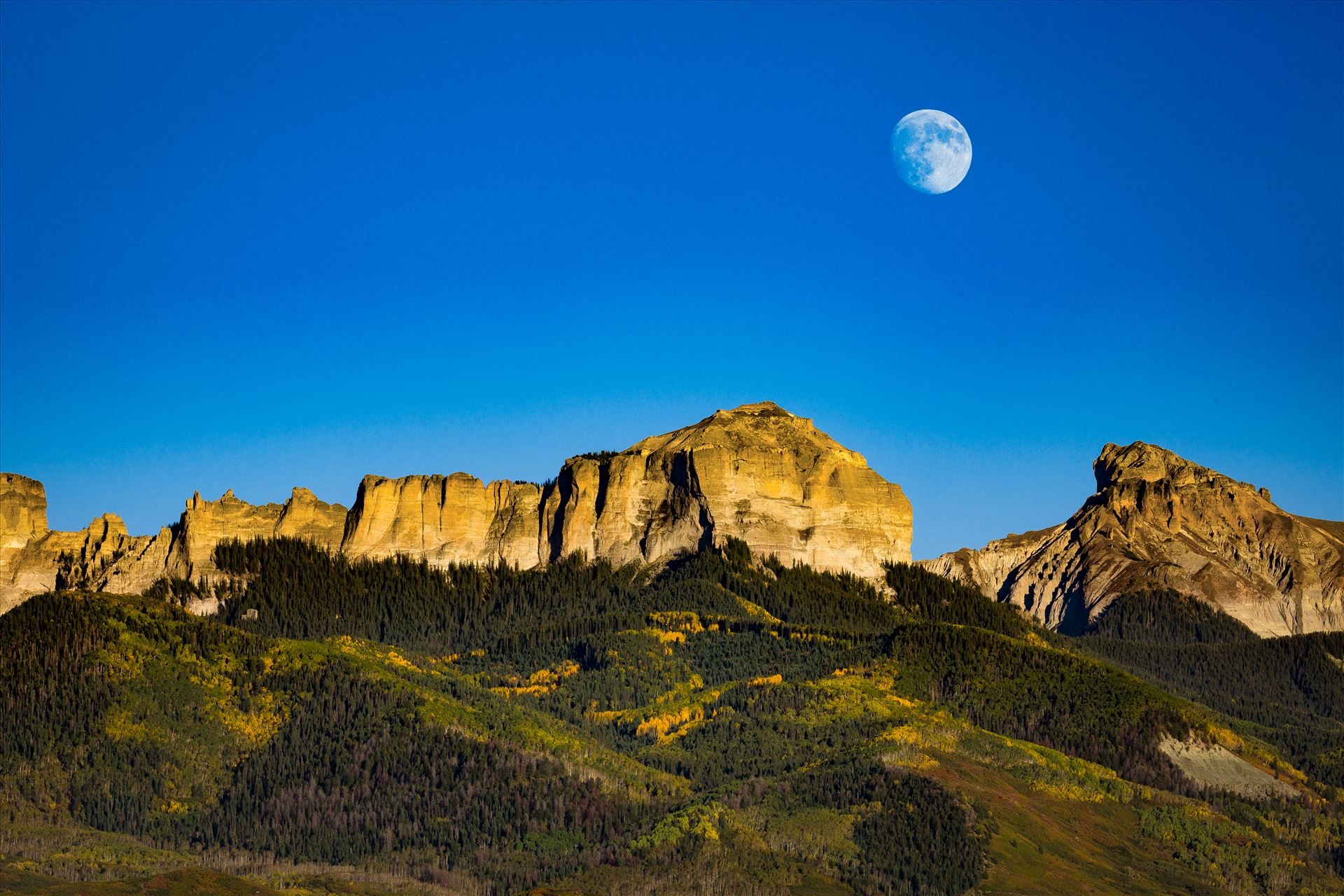 Moonrise over Chimney Peak - The moon rises over Chimney Peak outside of Ridgeway, Colorado. by D Scott Smith