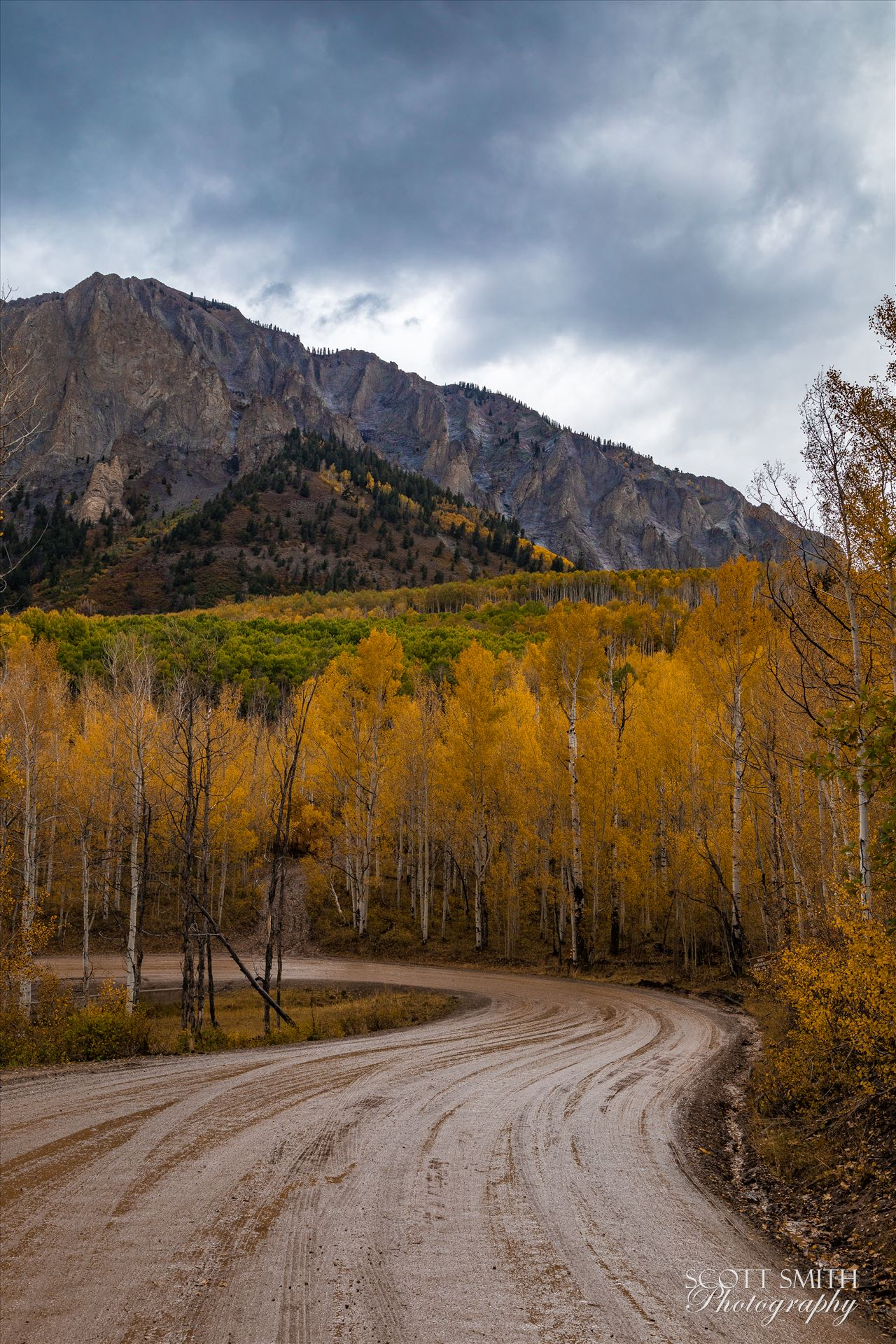 Marcellina Mountain 1 - Marcellina Mountain from Kebler Pass, on the way to Creste Butte, Saturday 9/29/17. by D Scott Smith