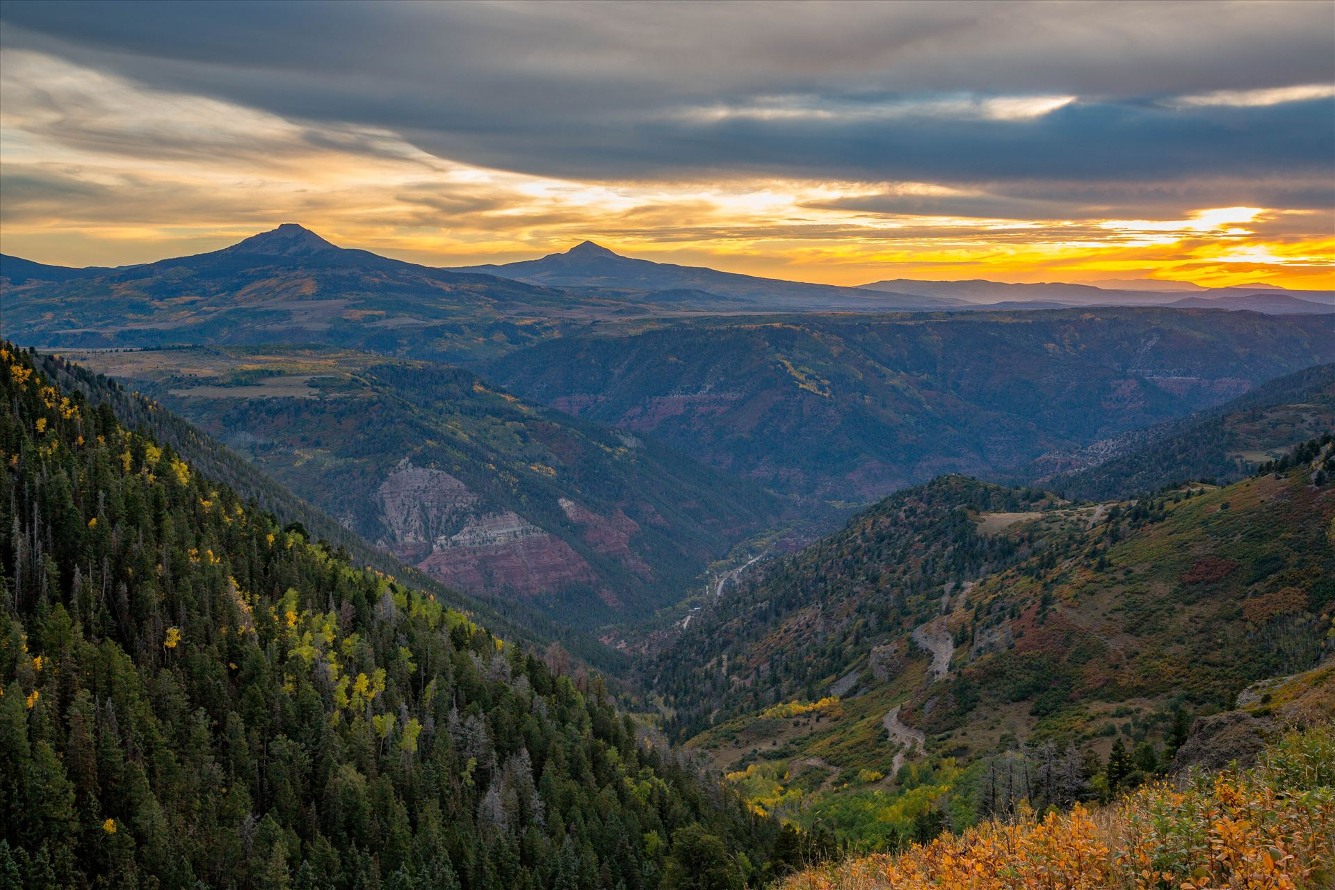 Last Dollar Road Sunset 2 - The sun has almost faded on a quiet, secluded spot from Last Dollar Road, outside of Telluride, Colorado in the fall. by D Scott Smith