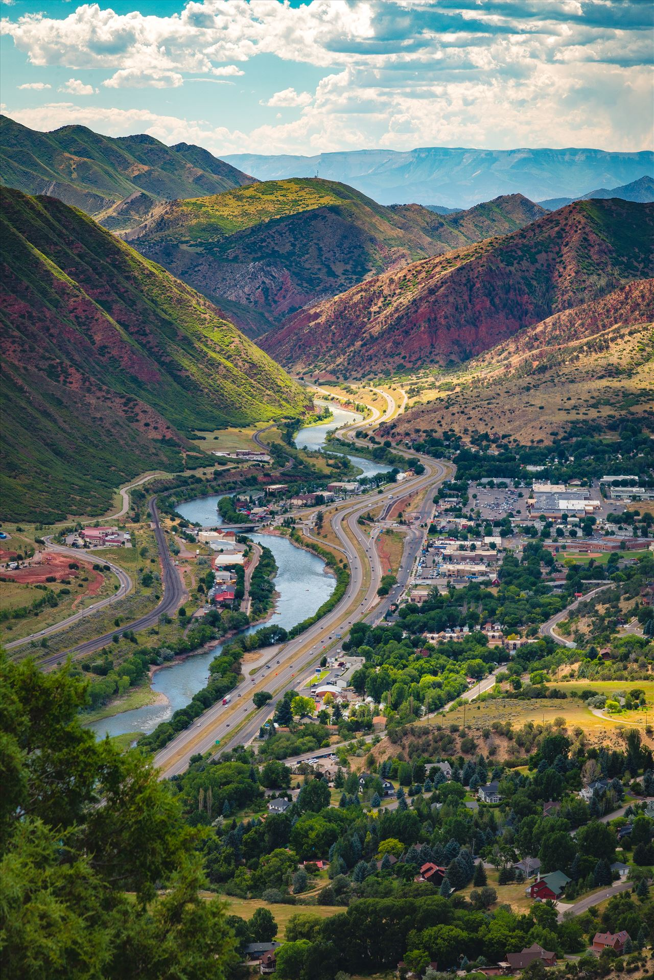 Glenwood Springs from Glenwood Caverns No 1 - Looking down from the top of Glenwood Caverns, the city of Glenwood Springs, Colorado looks miniature. by D Scott Smith