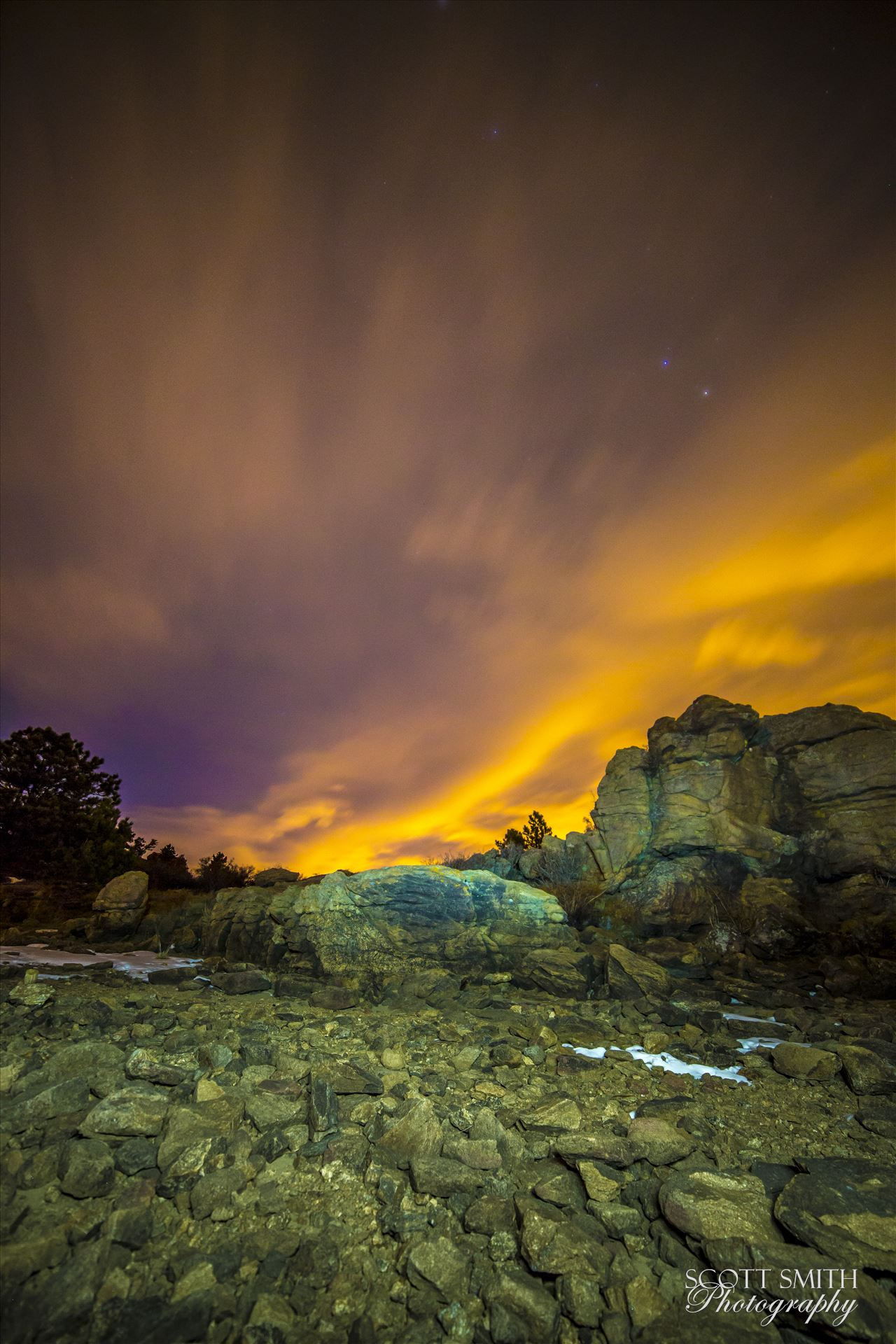 Night Sky on Fire at Mary's LakeClouds lit from distant Boulder and Denver light the sky at midnight.  From the shore of Mary's Lake a few miles near Estes Park, looking east towards Denver.