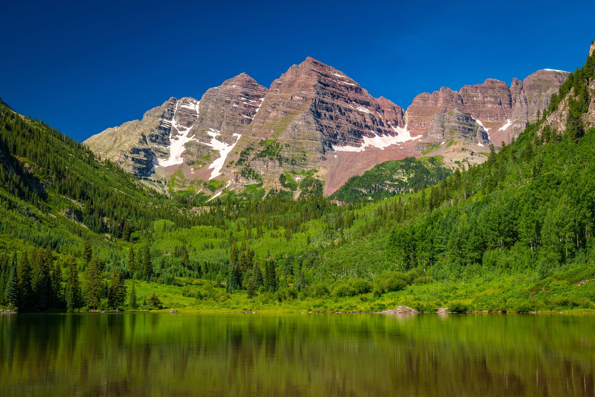 Maroon Bells in Summer No 08 -  by D Scott Smith