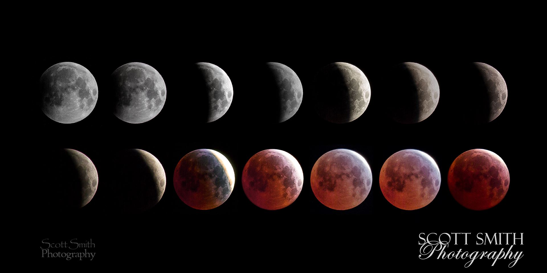 April 4 2015 Eclipse CollageA collage of 14 images from the spring 2015 lunar eclipse, showing the different phases of the moon.