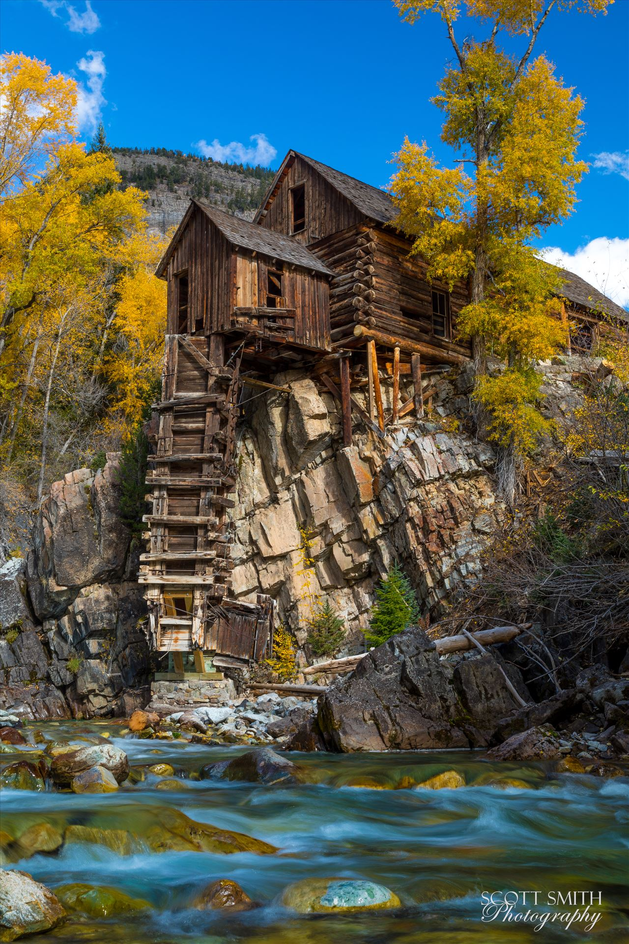 Crystal Mill No 4 - The Crystal Mill, or the Old Mill is an 1892 wooden powerhouse located on an outcrop above the Crystal River in Crystal, Colorado by D Scott Smith