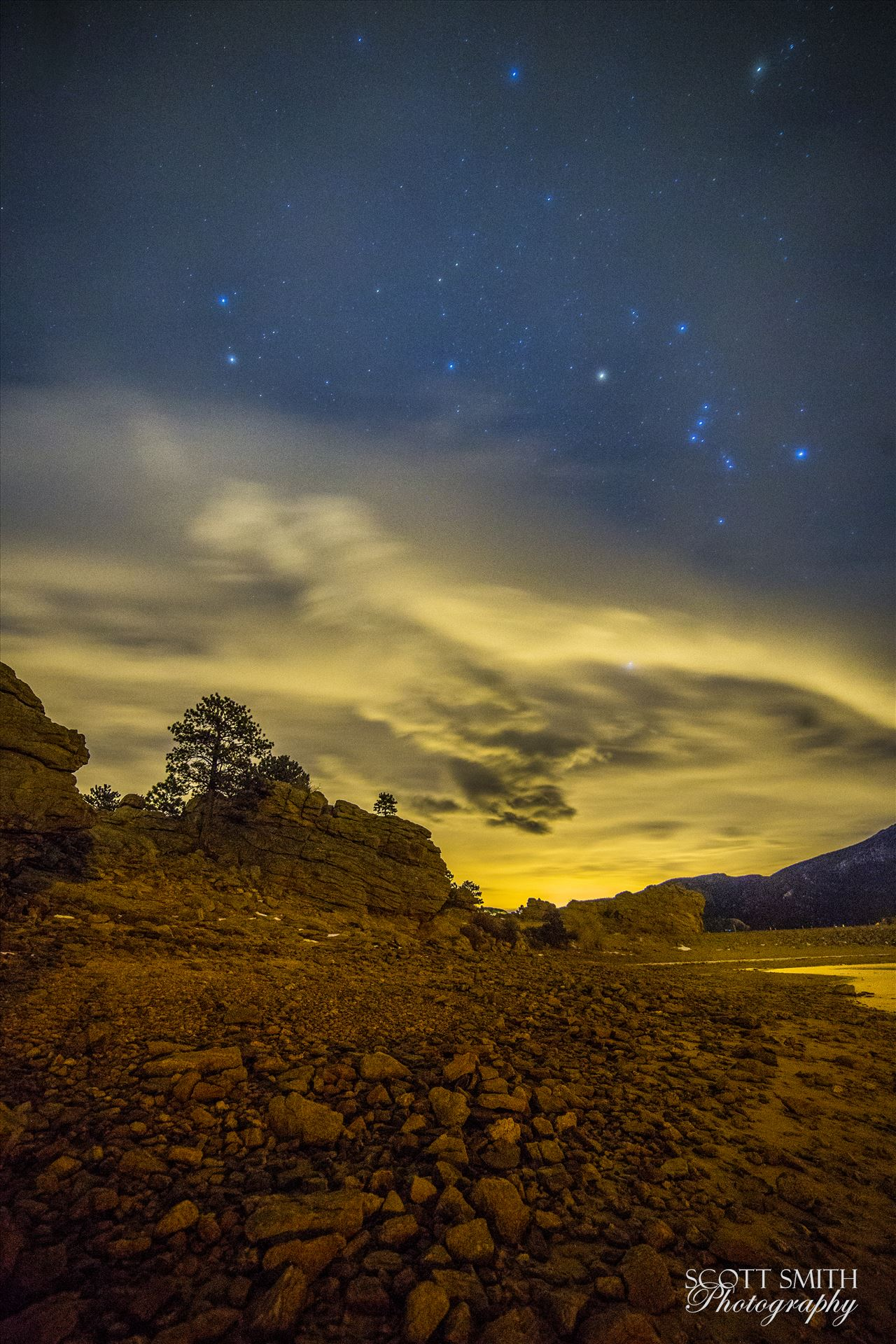 Mary's Lake At Night - Another long exposure from the shore of Mary's Lake a few miles near Estes Park, looking east towards Denver. by D Scott Smith