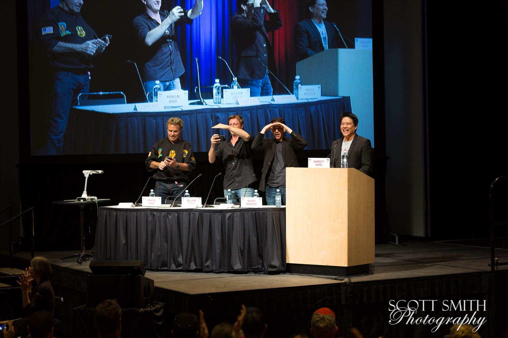 Denver Comic Con 2016 35 - Denver Comic Con 2016 at the Colorado Convention Center. Garrett Wang, Ralph Macchio, Martin Kove and William Zabka. by D Scott Smith