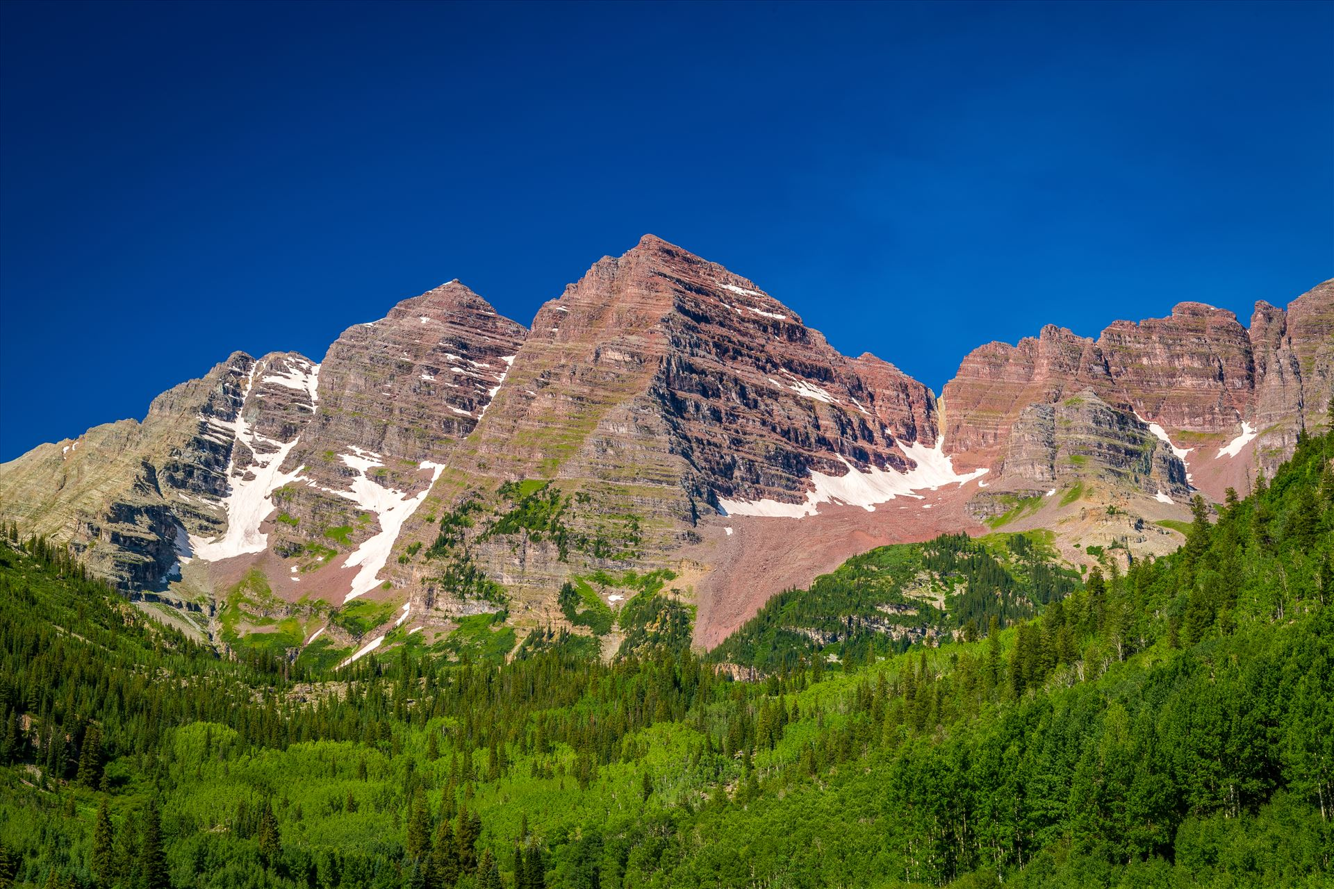 Maroon Bells in Summer No 09 -  by D Scott Smith