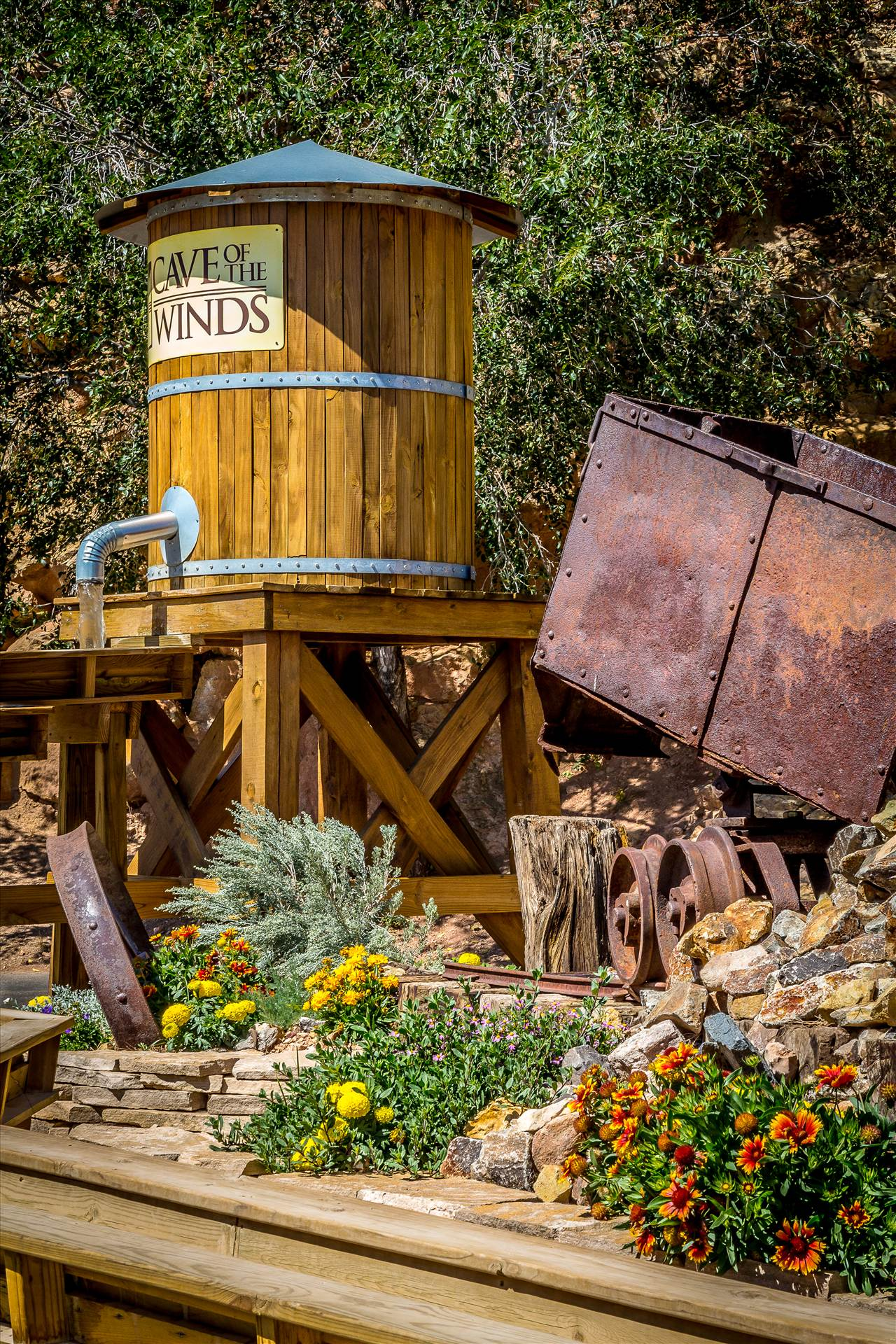 Cave of the Winds Display - A rustic display outside the entrance to the Cave of the Winds in Manitou, Colorado. by D Scott Smith