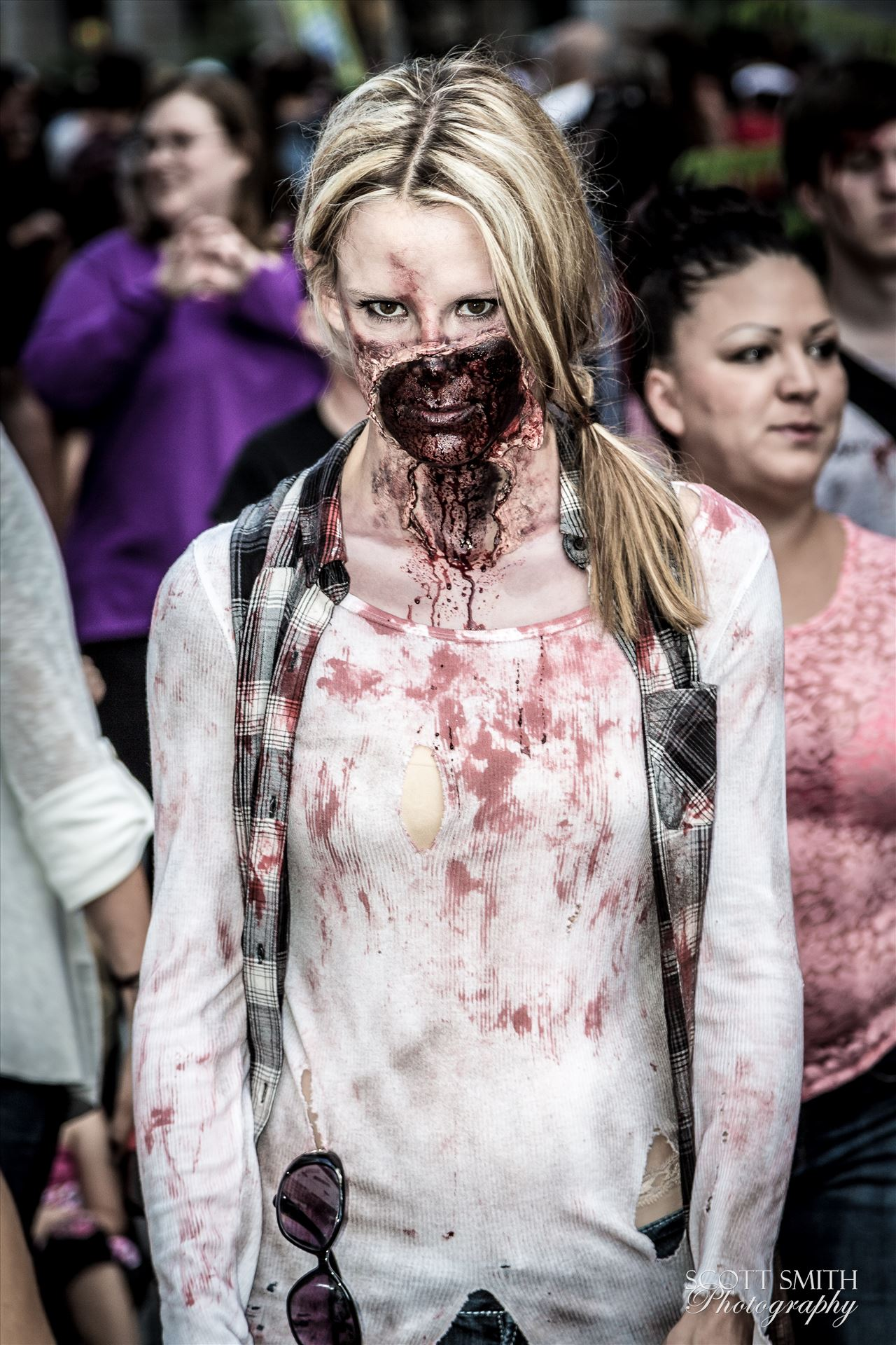 Denver Zombie Crawl 2015 23 - An attractive zombie walks the streets of Denver. Well, attractive to other zombies! by D Scott Smith