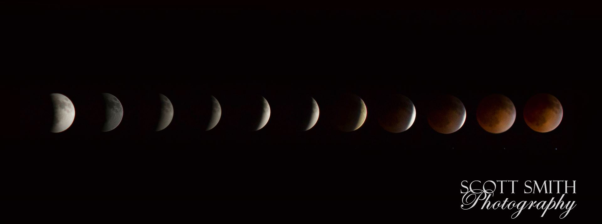 2014 Blood Moon Collage - Lunar eclipse and blood moon, 4/15/2014.  Shot as separate frames with a 100mm Canon f/2.8 and assembled in Photoshop. by D Scott Smith