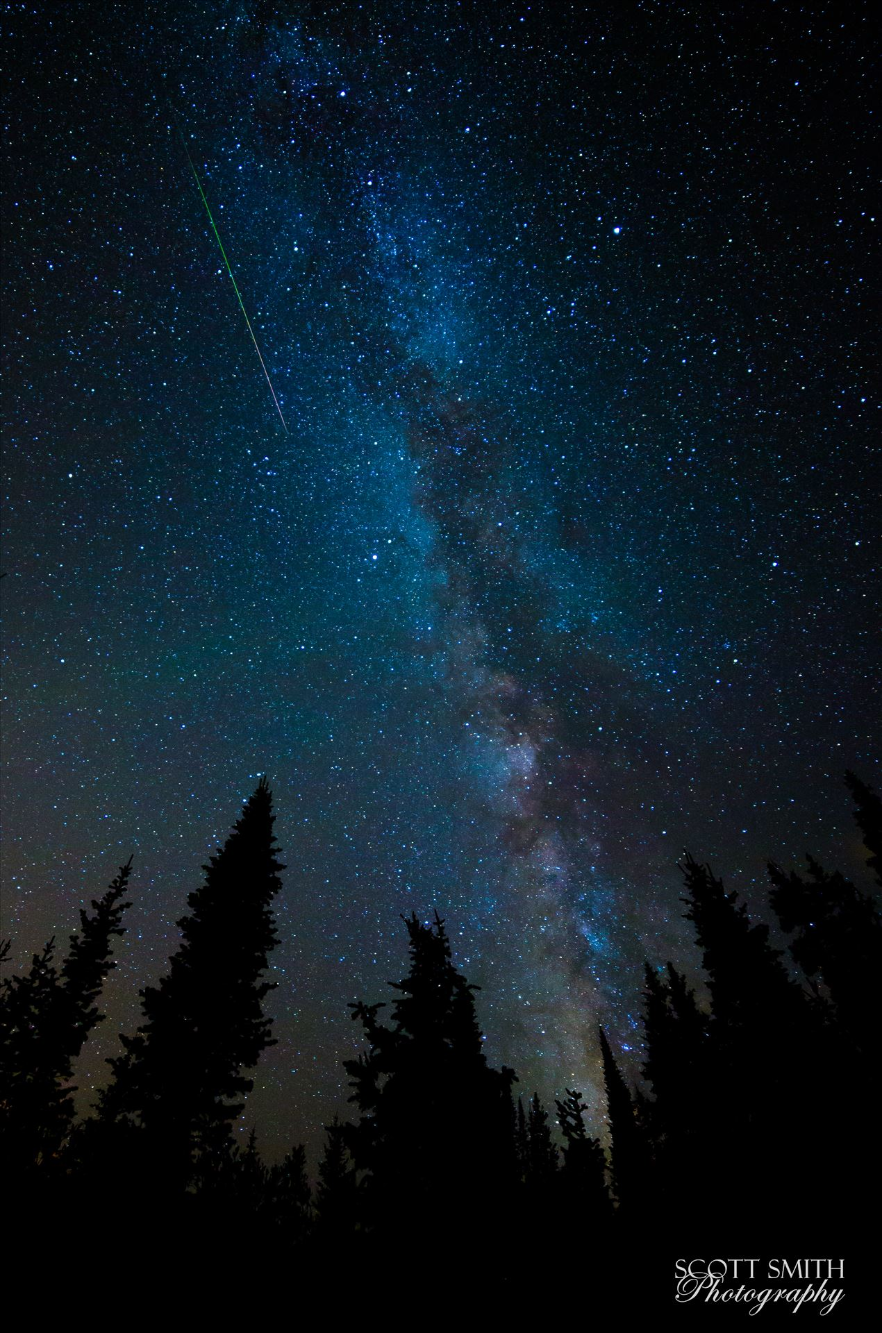 Milky Way and Meteorite from the PerseidsA lone meteorite streaks through the sky near the Milky Way, at the Brainard Lake State Recreation Area near Ward, Colorado.