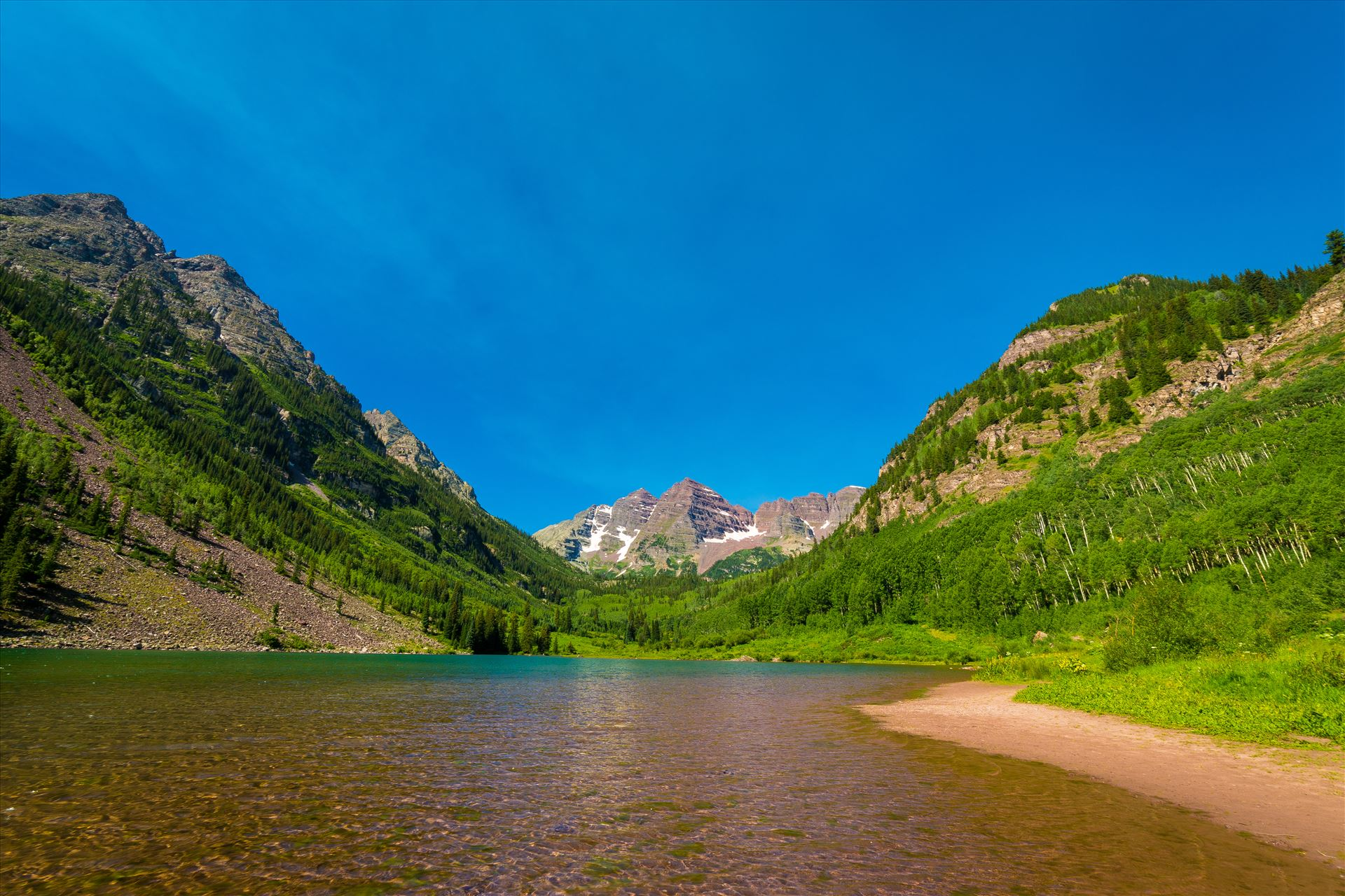Maroon Bells in Summer No 13 -  by D Scott Smith