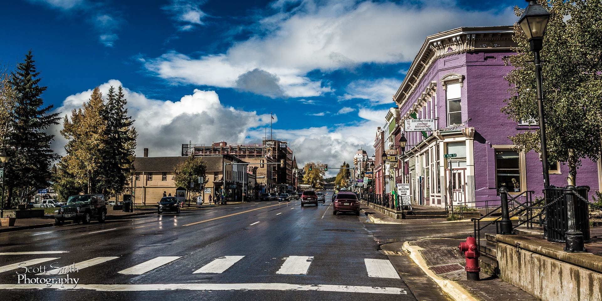 Mainstreet, USA - Businesses line a busy main street in Leadville, CO. by D Scott Smith