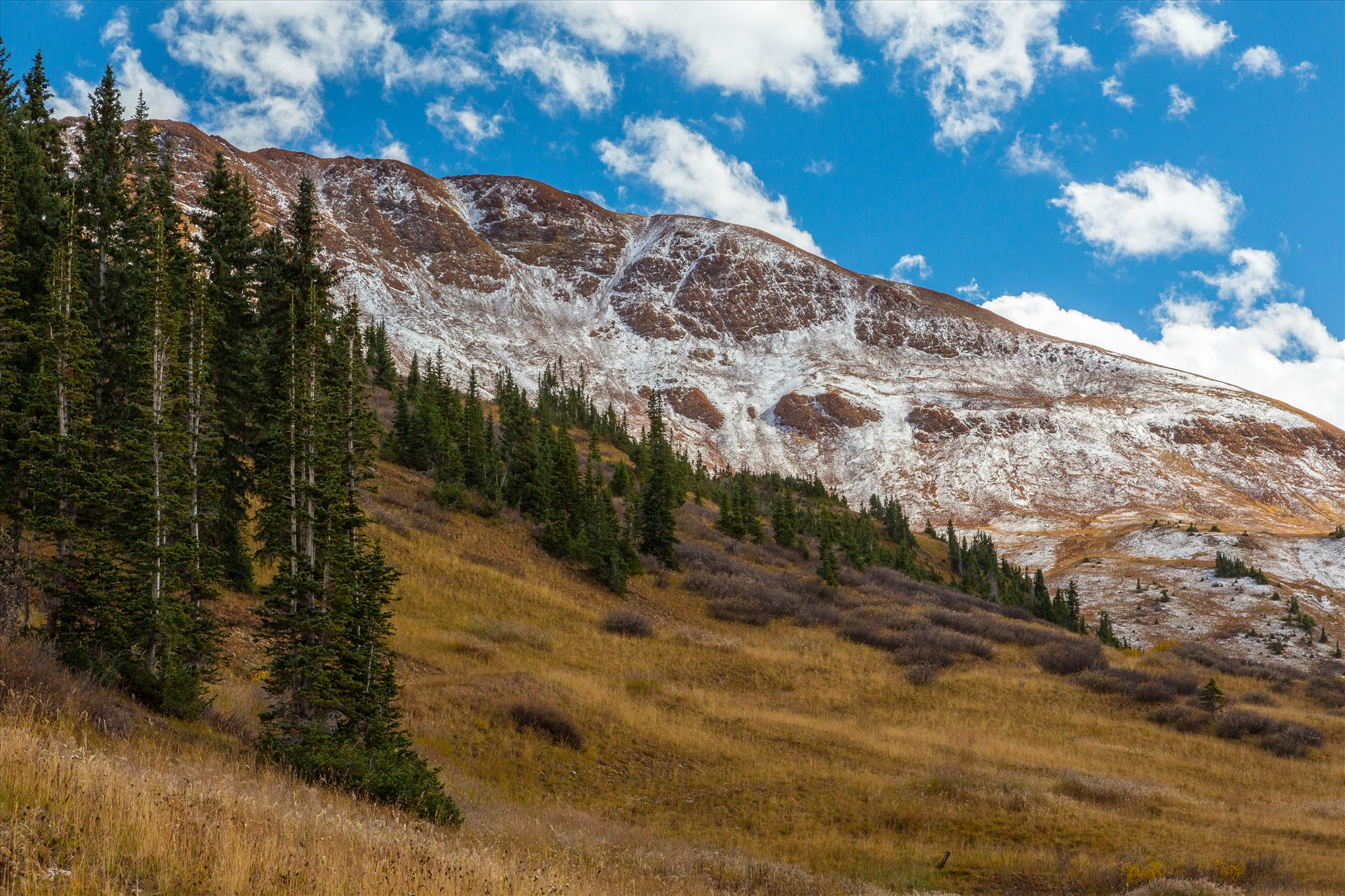 Snow at Mount Baldy Wilderness - Snow on the peaks at the Mount Baldy Wilderness area, near the summit. Taken from Schofield Pass in Crested Butte, Colorado. by D Scott Smith