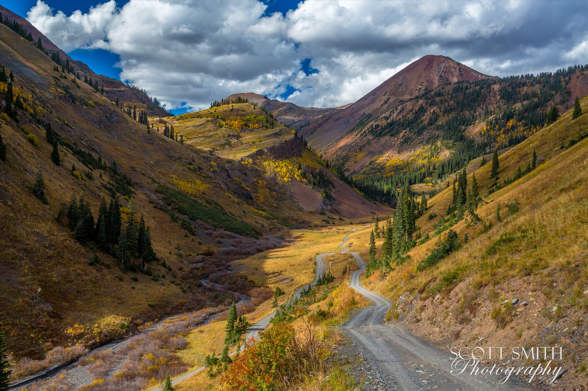 Mount Baldy from Washington Gulch - Mount Baldy, the reddish colored mountain the background, from Washington Gulch. Just outside of Crested Butte, Colorado on Schofield Pass. by D Scott Smith