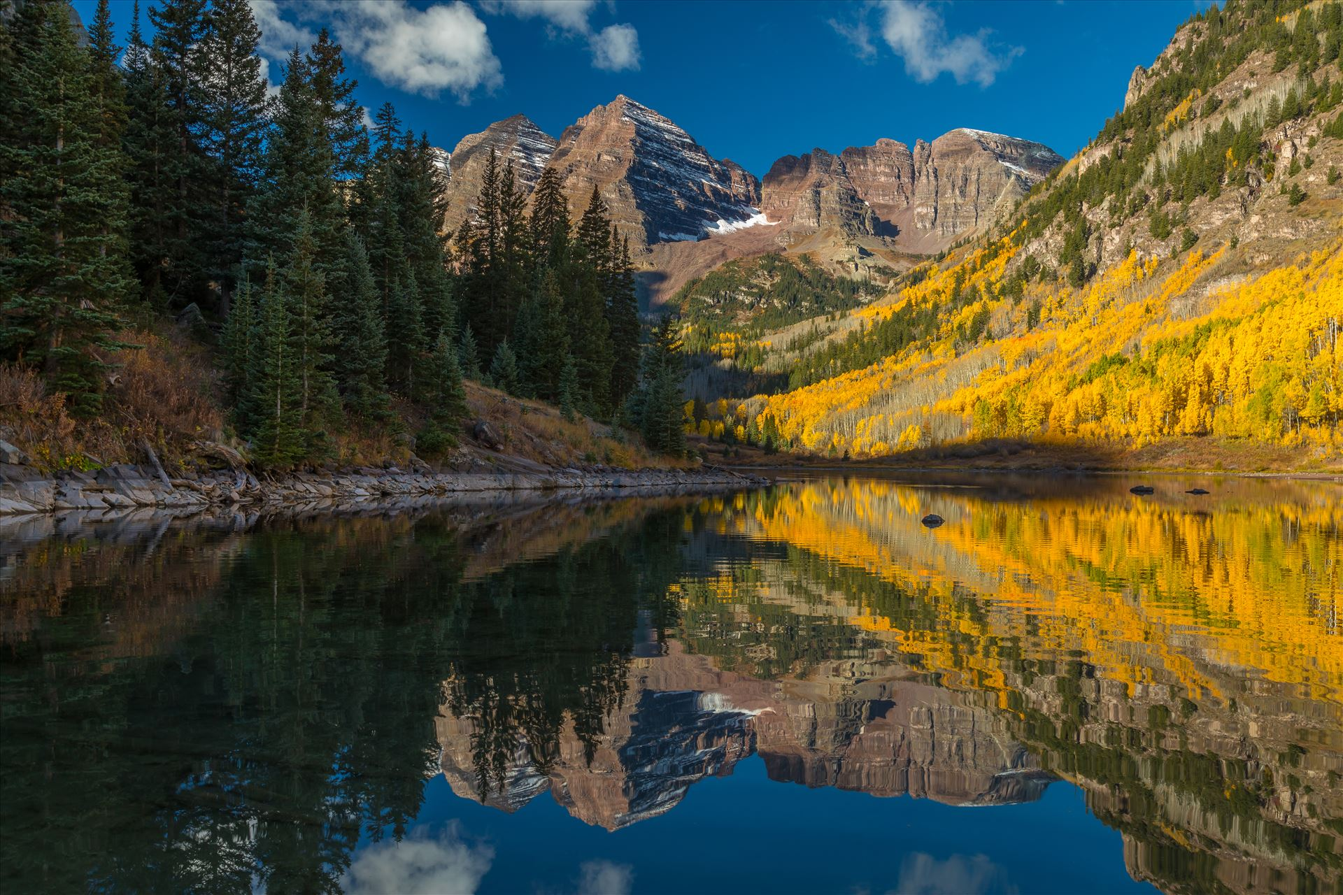 Maroon Bells and Maroon Lake No 2 -  by D Scott Smith