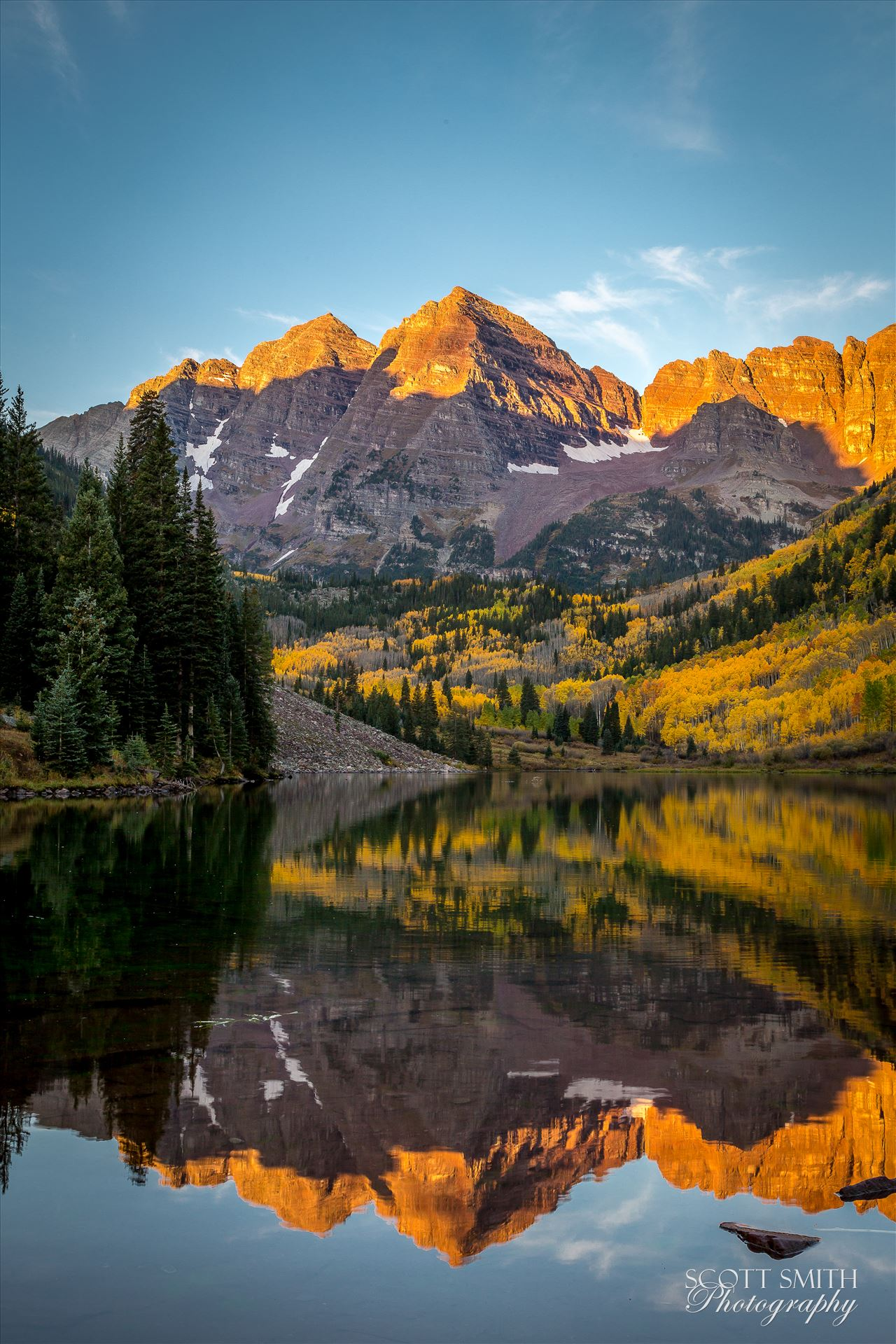 Maroon Bells - The Maroon Bells reflected in Maroon Lake. Taken September, 2014. by D Scott Smith
