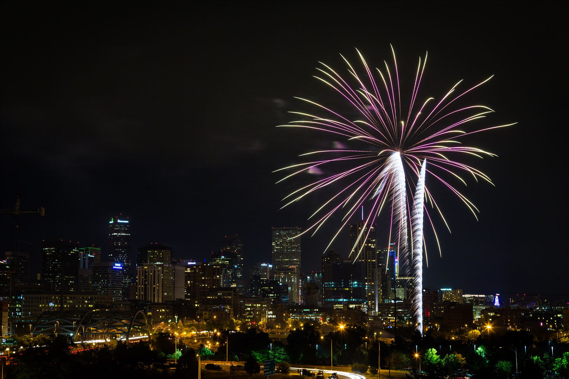 Elitch's Fireworks 2016 - 5 - Fireworks from Elitch Gardens, taken near Speer and Zuni in Denver, Colorado. by D Scott Smith