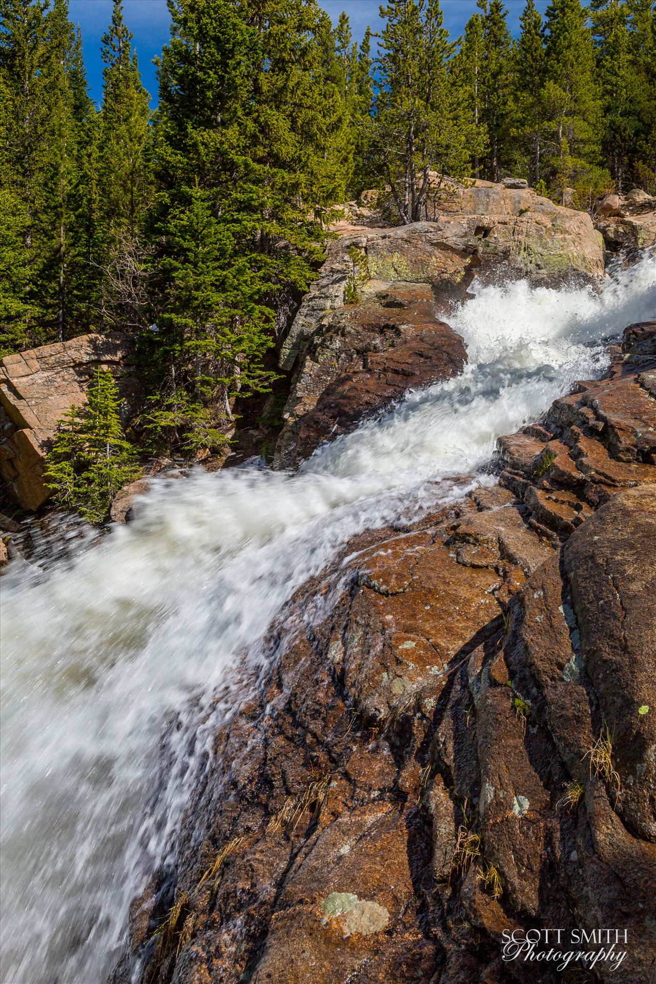 Alberta Falls Midpoint 1 - Alberta Falls in Rocky Mountain National Park, from about half-way up. by D Scott Smith