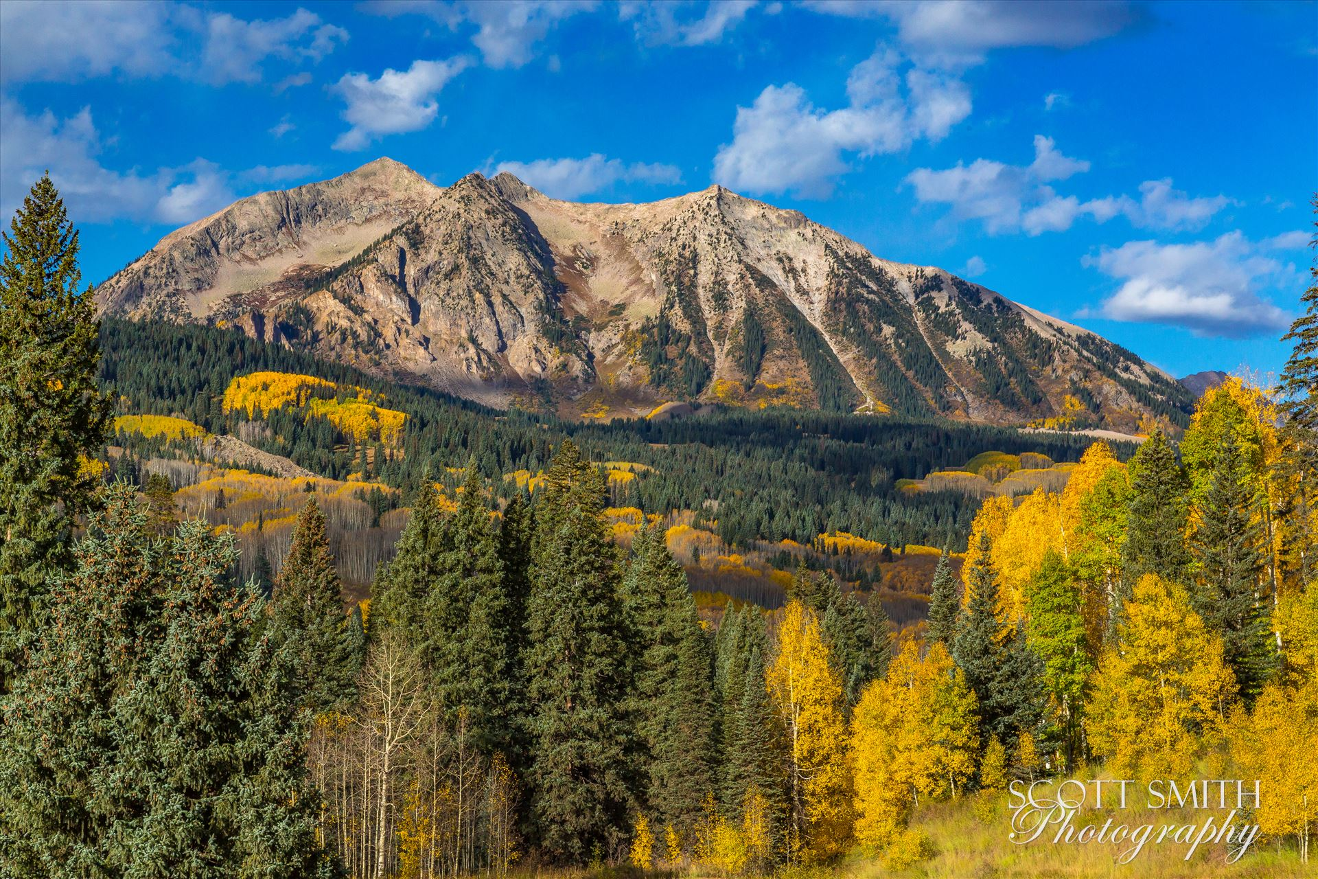East Beckwith Mountain Detail - East Beckwith mountain from Kebler pass near Crested Butte, Colorado. by D Scott Smith