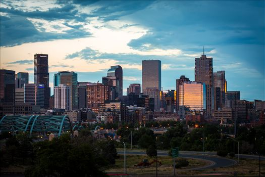 Denver Skyline at Sunset - The Denver, Colorado skyline as the sun sets.