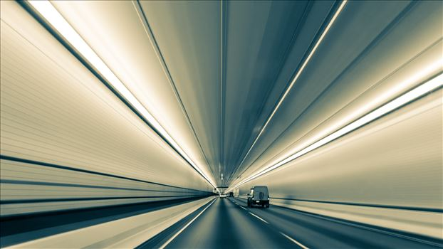 Converging Lines in Eisenhower Tunnel (Black and White Version) by D Scott Smith