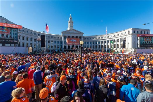 Broncos Fans at the Superbowl Victory Celebration - The best fans in the world descend on Civic Center Park in Denver Colorado for the Broncos Superbowl victory celebration.