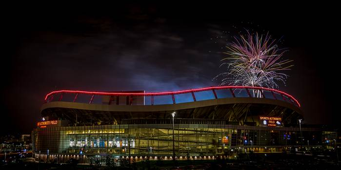 Fireworks at Mile High Stadium - Fireworks over Mile High Stadium in Denver, Colorado on the Fourth of July.