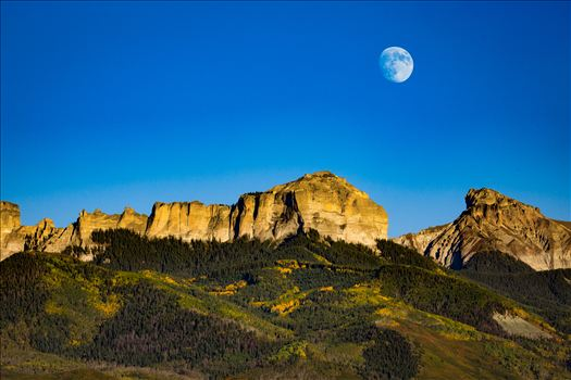 Moonrise over Chimney Peak - The moon rises over Chimney Peak outside of Ridgeway, Colorado.