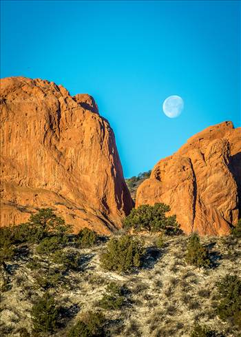 Moon Setting between the Gods by D Scott Smith