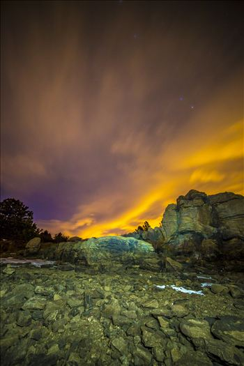 Night Sky on Fire at Mary's Lake by D Scott Smith