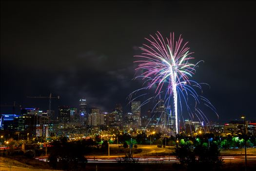Denver Fourth of July 2016 - July fourth fireworks show from Elitch's, in Denver Colorado. Taken near Speer and Zuni.