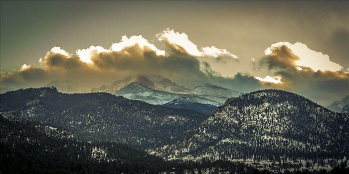 Sunset from Estes - The sun sets over peaks in the Rocky Mountain National Park, as seen from near the famous Stanley Hotel in Estes Park.