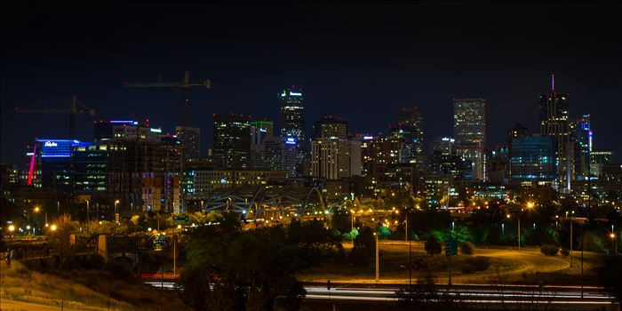 Denver Skyline at Night by D Scott Smith