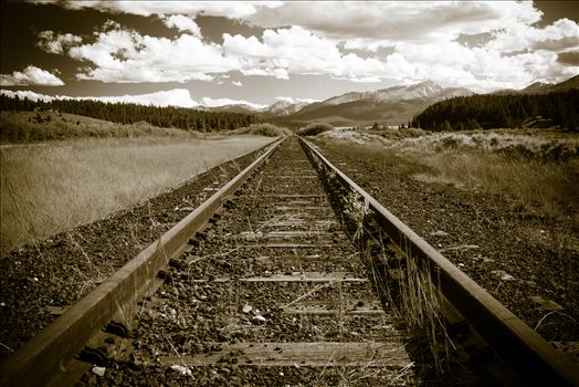 Miles of railroad tracks going into the distance outside of Leadville, Colorado.
