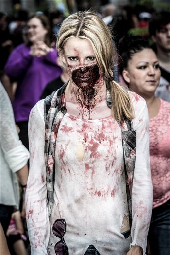 Denver Zombie Crawl 2015 23 - An attractive zombie walks the streets of Denver. Well, attractive to other zombies!