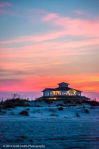 Beach House at Sunset -