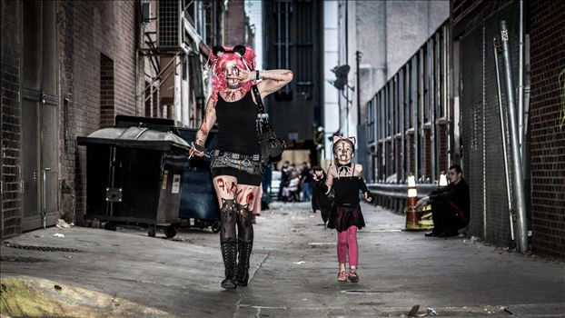 Denver Zombie Crawl 2015 18 - An adorable mother and daughter walking through an alley during Denver's 2015 Zombie Crawl.