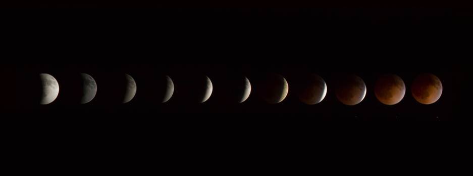 2014 Blood Moon Collage - Lunar eclipse and blood moon, 4/15/2014.  Shot as separate frames with a 100mm Canon f/2.8 and assembled in Photoshop.