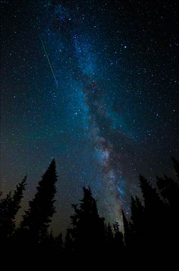 Milky Way and Meteorite from the Perseids - A lone meteorite streaks through the sky near the Milky Way, at the Brainard Lake State Recreation Area near Ward, Colorado.