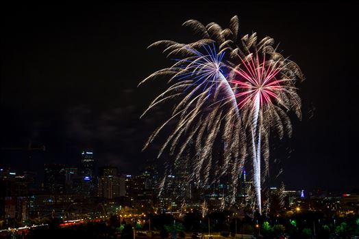 Elitch's Fireworks 2016 - Red White and Blue - Fireworks from Elitch Gardens, taken near Speer and Zuni in Denver, Colorado.