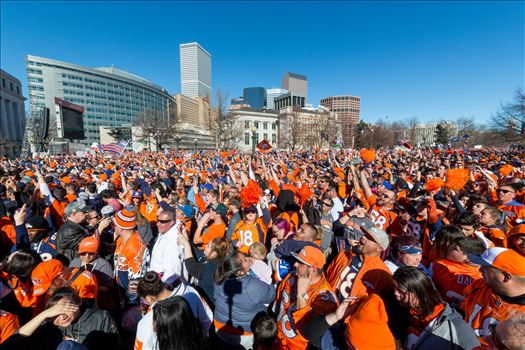 Broncos Fans 2 - The best fans in the world descend on Civic Center Park in Denver Colorado for the Broncos Superbowl victory celebration.