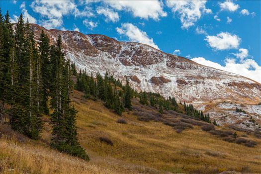 Snow on the peaks at the Mount Baldy Wilderness area, near the summit. Taken from Schofield Pass in Crested Butte, Colorado.