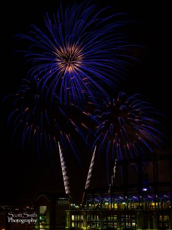 Fireworks over Coors Field 3 by D Scott Smith