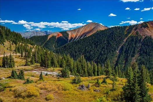 Ophir Pass, featuring one of the red mountains, between Ouray and Silverton Colorado in the fall.