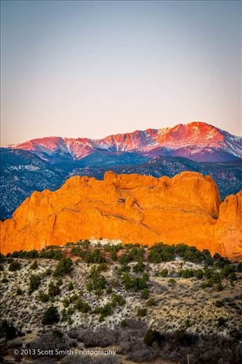 Morning Peaks - Pike's Peak, behind the Garden of the Gods, lit by the rising sun.