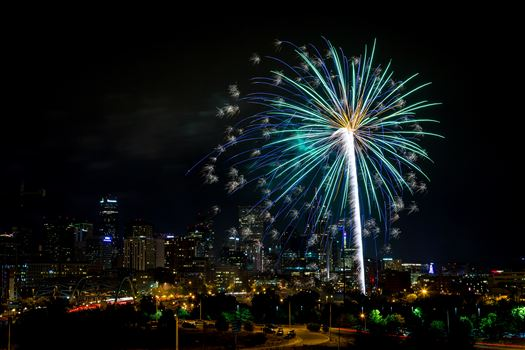 Elitch's Fireworks 2016 - 11 - Fireworks from Elitch Gardens, taken near Speer and Zuni in Denver, Colorado.