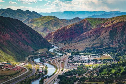 Glenwood Springs from Glenwood Caverns No 2 - Landscape version of the view from the top of Glenwood Caverns, the city of Glenwood Springs, Colorado looks miniature.